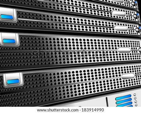 Rack, of five servers - Raster Version - stock photo