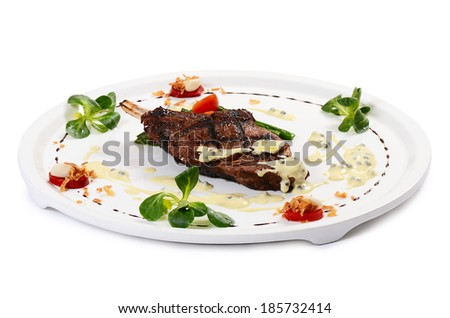 Rack of lamb grill with an asparagus - stock photo
