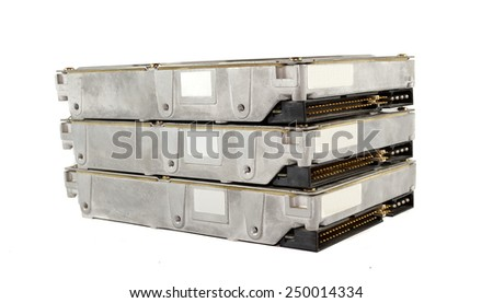 Rack of three hard drives on a white background - stock photo