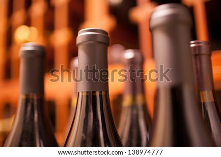 Rack of wine bottles