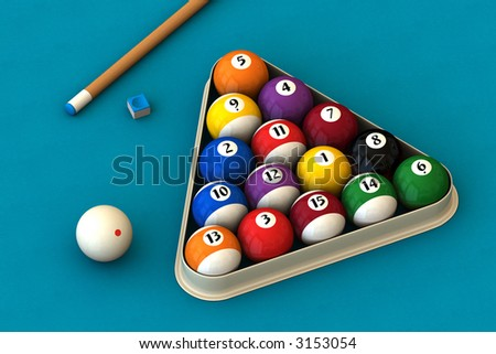 Racked pool balls, a cue stick and a pool chalk block on a blue table (3D rendering) - stock photo