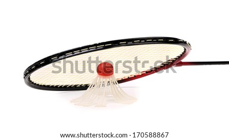Racket and birdie of badminton. Isolated on a white background.