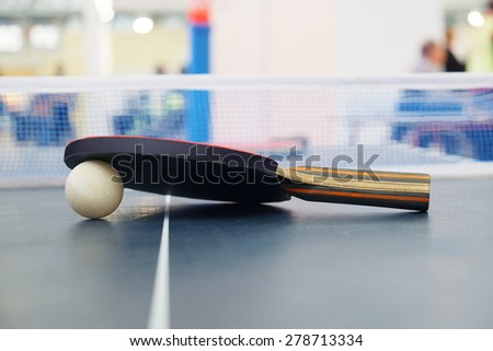 Racket for tennis and a ball - stock photo