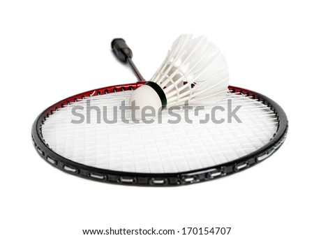 racket is a badminton and shuttlecock