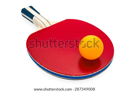 rackets and ping pong ball for playing table tennis on white isolated background with clipping path. - stock photo