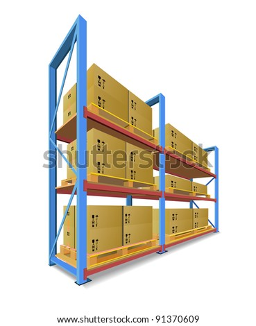 Racks, pallets and boxes in stock are shown in the picture. - stock photo
