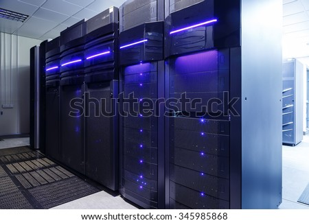 rackserver hardware in the data center - stock photo