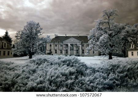 Racot Palace in Greater Poland, Poland. The infrared image