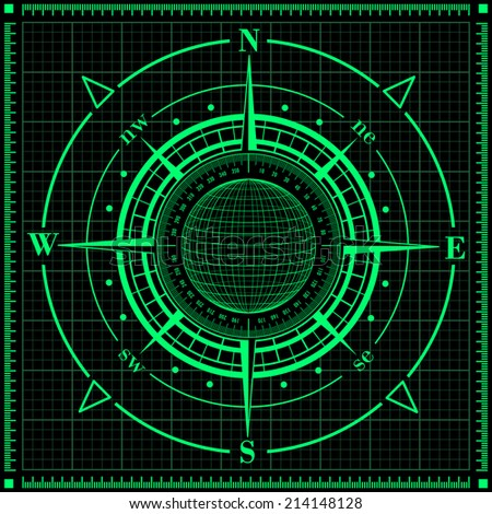 Radar compass rose with globe. Raster version of the illustration. - stock photo