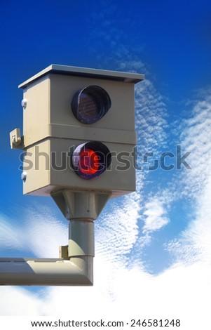 Radar control, flash, speed camera, speed cameras - stock photo