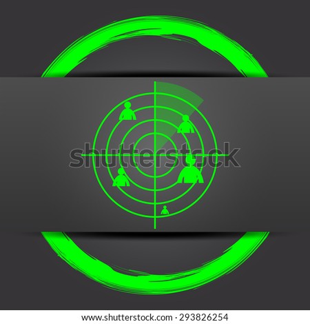 Radar icon. Internet button with green on grey background.  - stock photo