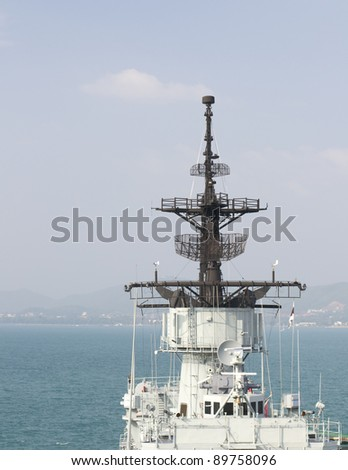 radar of warship - stock photo