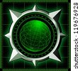 Radar screen. Digital globe inside steel compass rose. Raster illustration. - stock photo