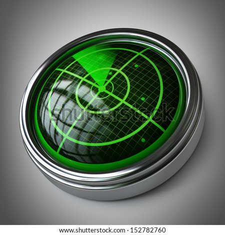 Radar screen. High resolution 3D image  - stock photo