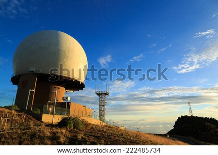 Radar station on mountain Pico do Arieiro, Madeira, Portugal. - stock photo