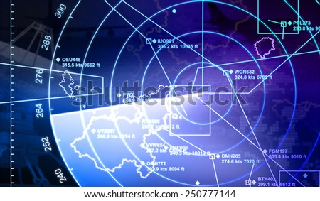 Radar with targets in action - stock photo