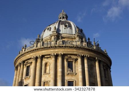 Radcliffe Camera on a sunny day at Oxford University, United Kingdom - stock photo