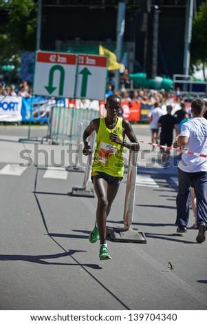 RADENCI - MAY 18: Elisha Kiprotich Sawe running on a Marathon in Radenci on May 18, 2013 in Radenci, Slovenija. - stock photo