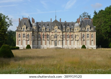 Radepont, France - july 22 2015 : the nineteen century castle in summer