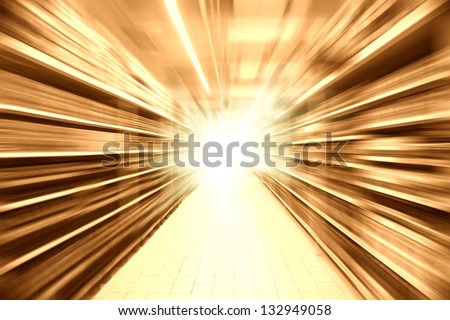 radial blur of the product shelf in a super market - stock photo