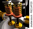 Radial cylinder engine 3D render with black background - stock photo