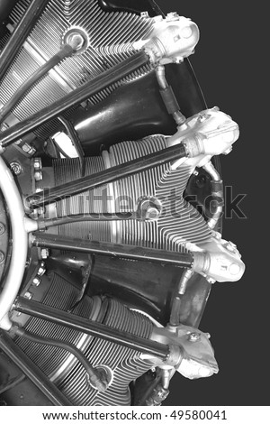 Radial engine of old airplane - stock photo