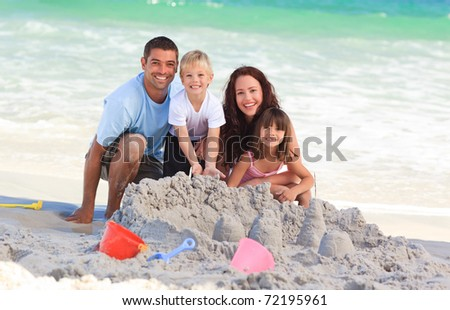 Radiant family at the beach