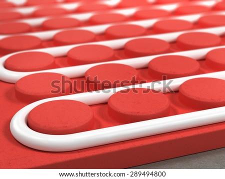 Radiant floor, heating, tube  - stock photo