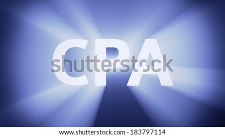"Radiant light from the acronym ""CPA"""