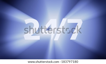 """Radiant light from the digits """"24/7"""" - stock photo"""