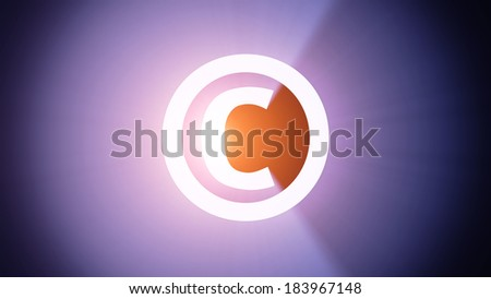 Radiant light from the symbol of copyright - stock photo