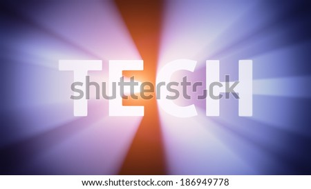 "Radiant light from the word ""TECH"""