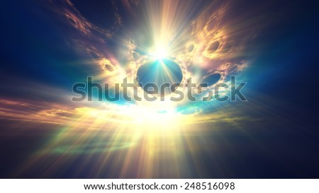 Radiant sun shining through clouds on the horizon - abstract digital illustration, 1080p format - stock photo
