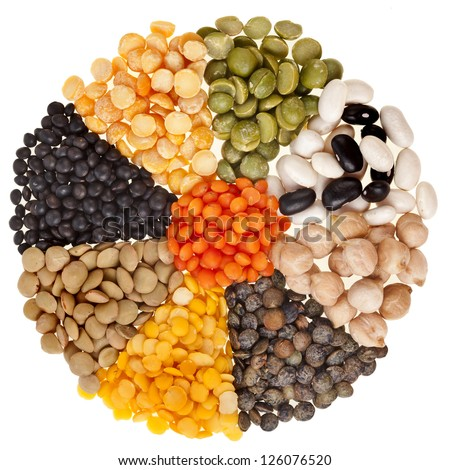 radiate background , rays of different mix set beans, legumes, peas, lentils isolated on white - stock photo