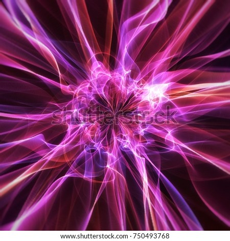 Radiating abstract futuristic electric flowing fire purple design on a black background