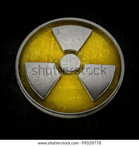 Radiation Alert sign isolated on black background High resolution 3D