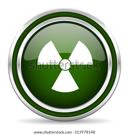 radiation green glossy web icon modern design with double metallic silver border on white background with shadow for web and mobile app round internet original button for business usage  - stock photo