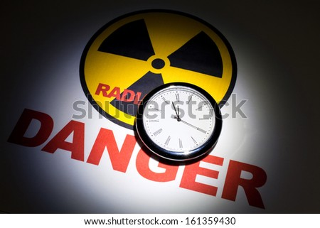 Radiation hazard sign for background - stock photo