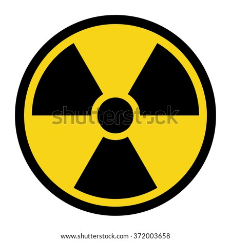 Radiation Hazard Sign. Symbol of radioactive threat alert. Black hazard emblem isolated in yellow circle on white background. Danger label. Warning icon. Stock Illustration