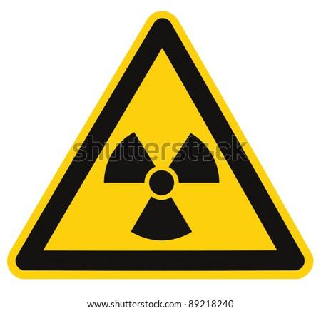 Radiation hazard symbol sign of radhaz threat alert icon, isolated black yellow triangle signage macro - stock photo