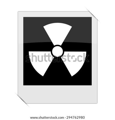 Radiation icon within a photo on white background  - stock photo