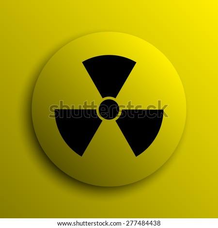 Radiation icon. Yellow internet button.  - stock photo