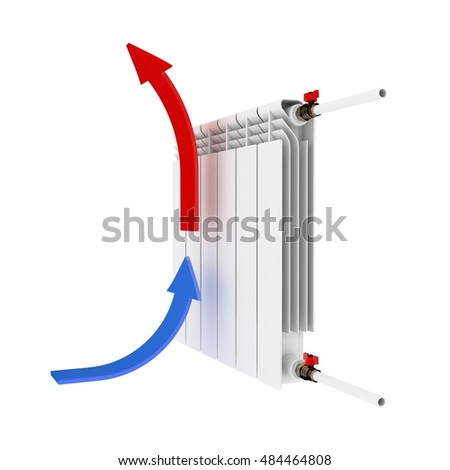 Radiator. Directional arrows Convention blue - cold, red - hot 3D illustration