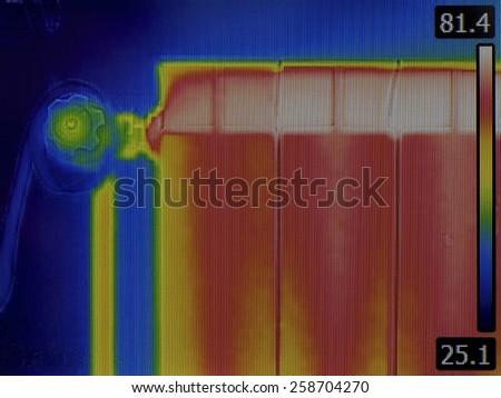 Radiator Heater Infrared Thermal Image - stock photo