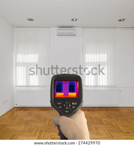 Radiator Heater Infrared Thermal Image - stock photo