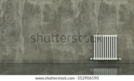 Radiator on a wall in an empty room, render 3D - stock photo