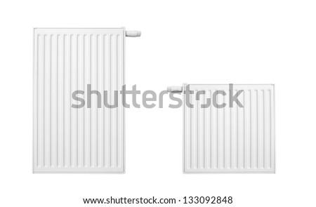 Radiator set isolated over a white background - stock photo