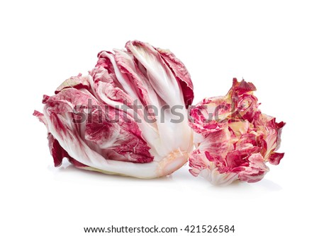 radicchio, red salad isolate on white background