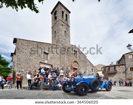 RADICOFANI (SI), ITALY - MAY 16: A blue Talbot AV 105 S takes part to the 1000 Miglia classic car race on May 16, 2015 in Radicofani (SI). The car was built in 1933. - stock photo