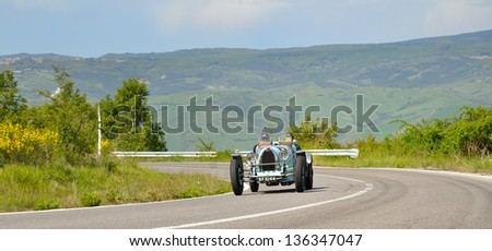 RADICOFANI (SI) ITALY - MAY 19: A light blue Bugatti type 35 A during 1000 Miglia, takes part to the 1000 Miglia 2012, on May 19, 2012 in Radicofani (SI)